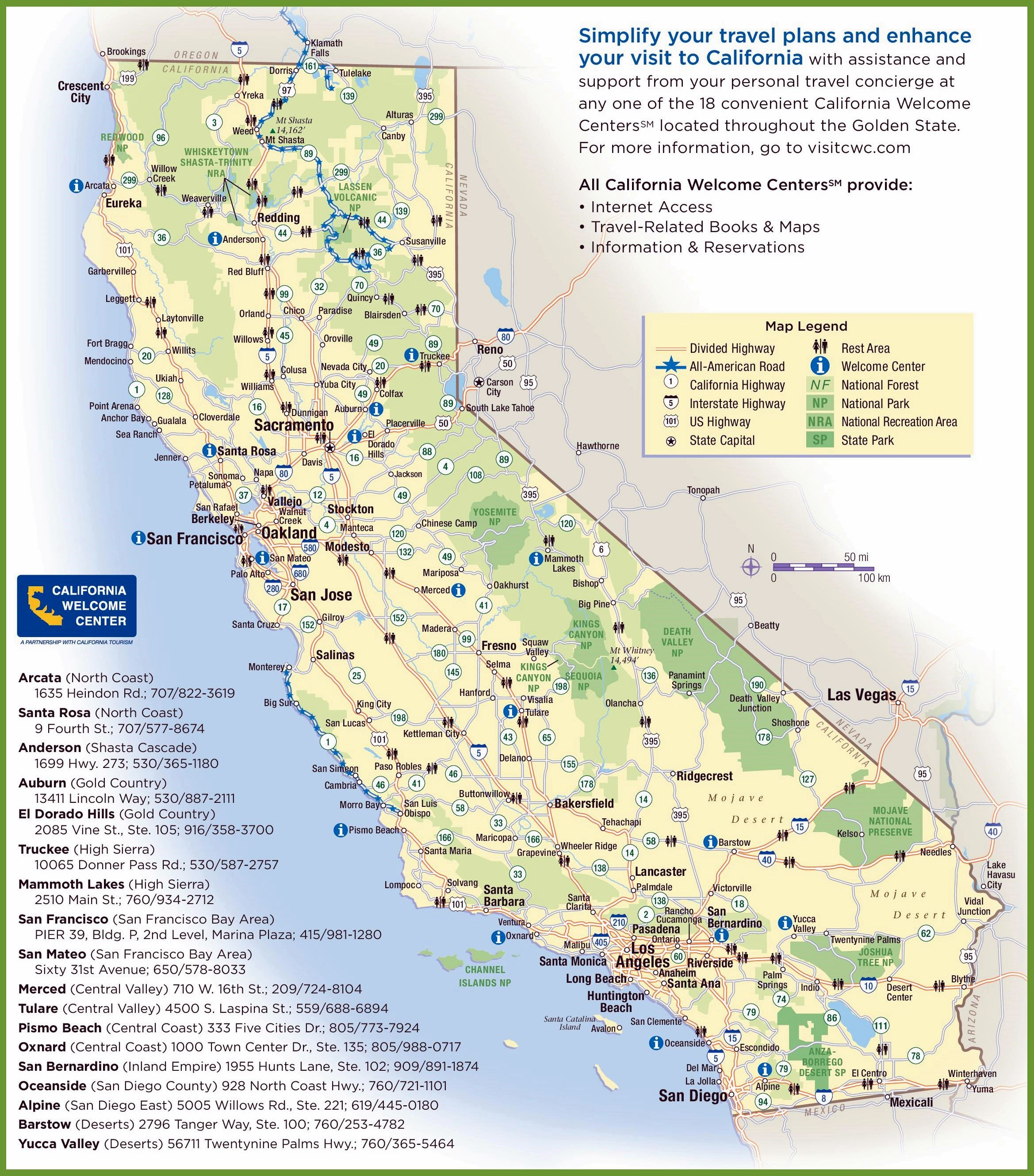 California Map from CALIFORNIA TOURISM